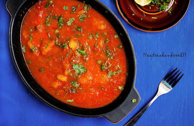 simple bengali potato curry for chapati or ruti or luchi or paratha / bengali tomato and potato curry / aloo tamatar jhol