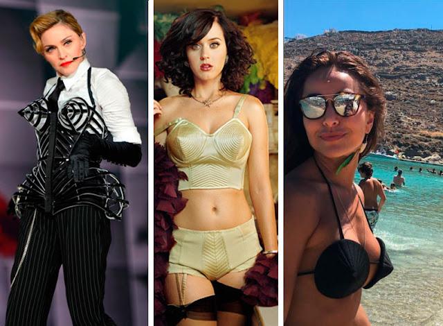 Corset, lingerie e biquini de cone, de Madonna, Katty Perry, Sabrina Sato