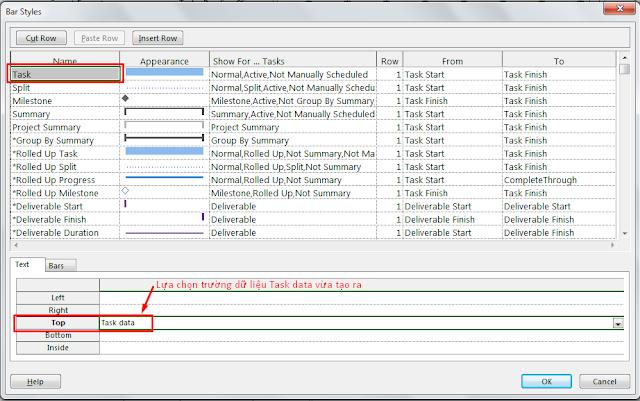 Hiện thị nhiều trường dữ liệu trên thanh bar trong MS Project 9
