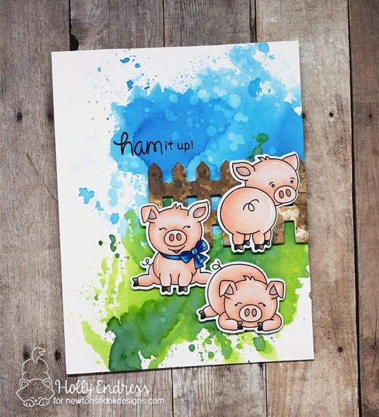 Ham it Up | Watercolor Pig Card by Holly Endress | Oink Stamp Set and Fence Set by Newton's Nook Designs #newtonsnook #handmade