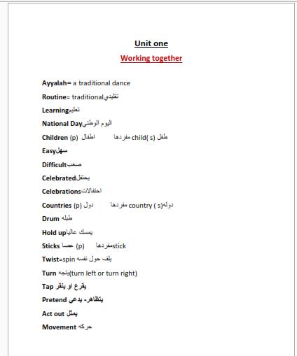 ورقة عمل الوحدة الاولي في اللغة الانجليزية للصف الرابع