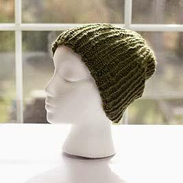 Loom knit men's ribbed beanie ski cap pattern free
