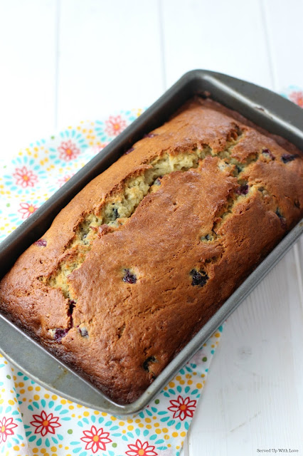 Loaf of Blueberry Banana Bread recipe from Served Up With Love