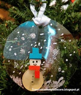 Enfeite de Natal ecológico - boneco de neve