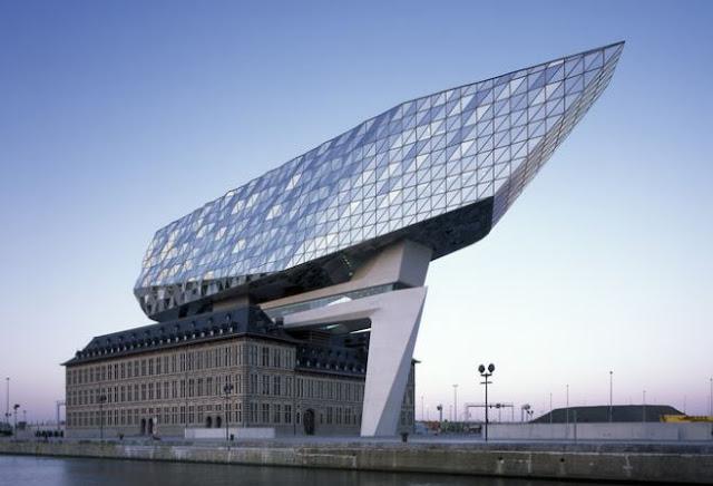 bangunan pelabuhan paling keren modern dan futuristik antwerp port house baru belgium belgia karya arsitek ir zaha hadid