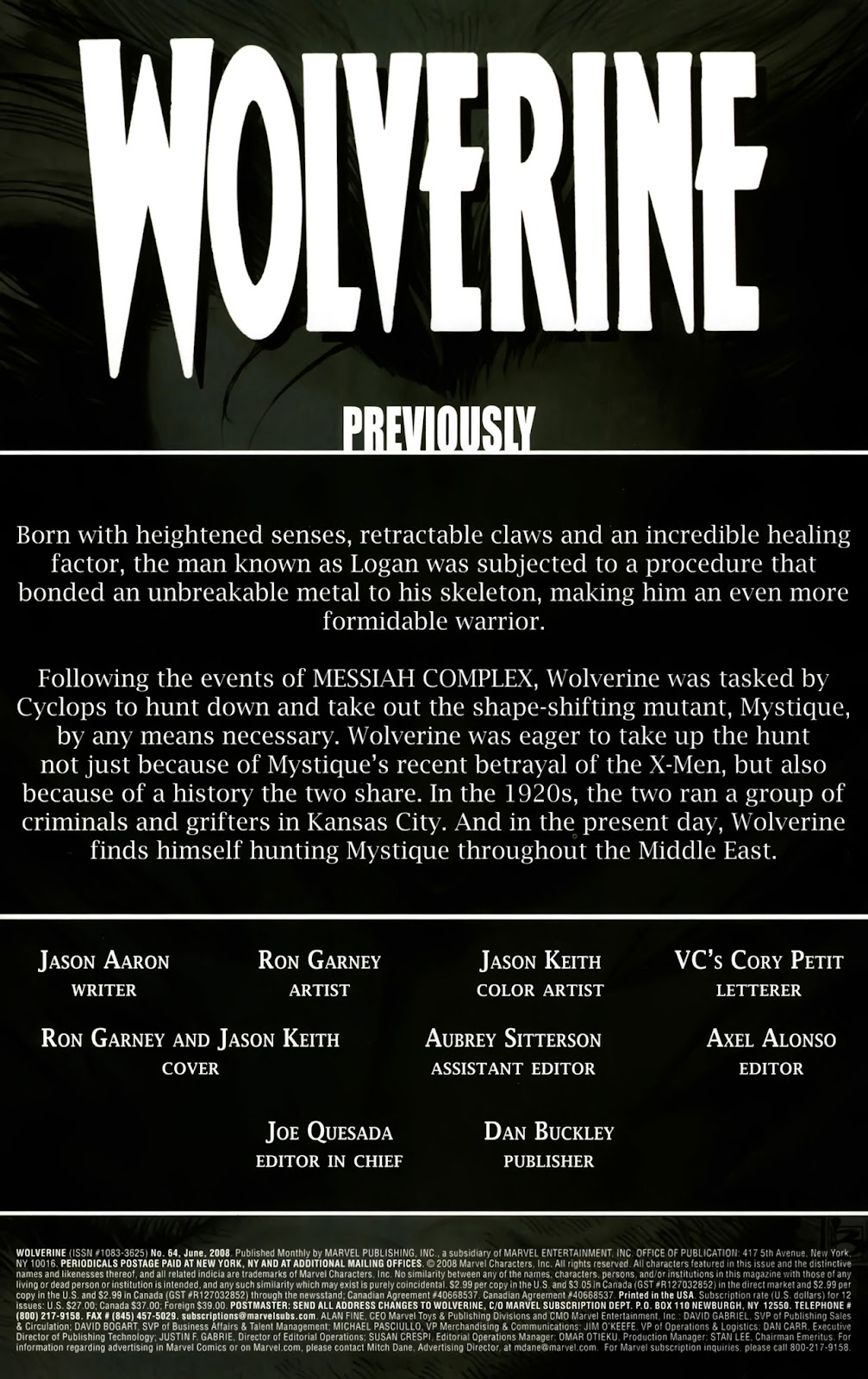 Read online Wolverine (2003) comic -  Issue #64 - 2