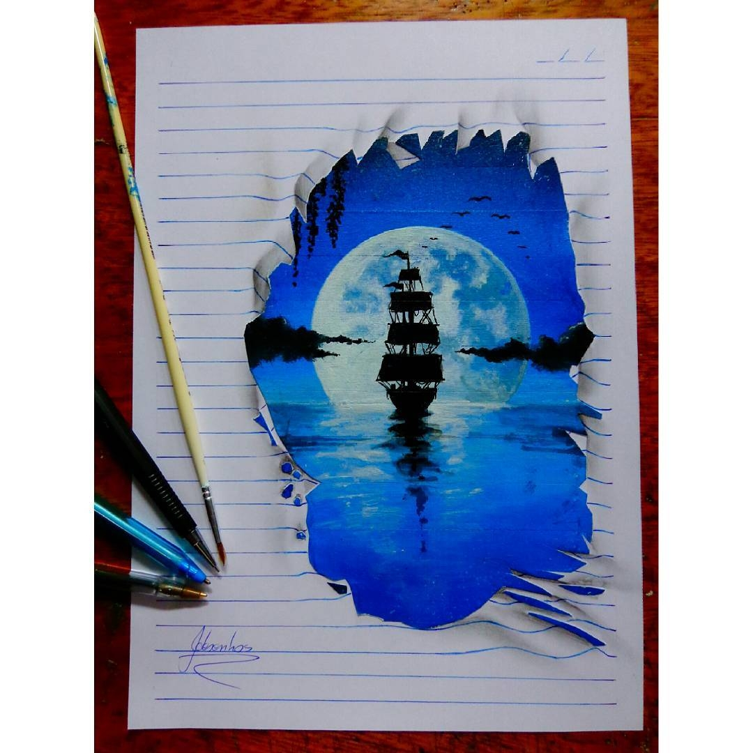 02-Moonlit-Ship-at-Sea-João-A-Carvalho-Drawing-and-Painting-3D-Optical-Illusions-see-the-Video-www-designstack-co