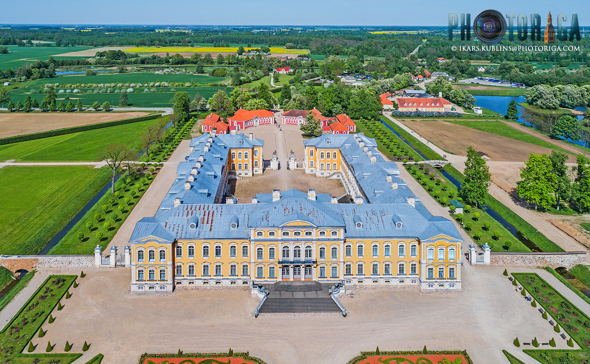 Rundale palace from above (drone perspective) in spring day