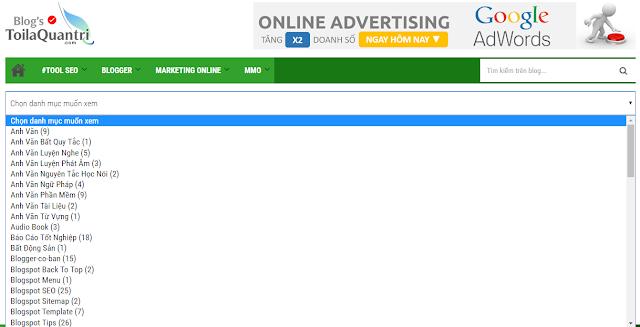 Tạo menu xổ dọc của nhãn cho blogspot