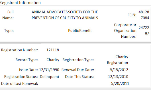 Mary Cummms Animal Advocates DELIQUENT since 2011!