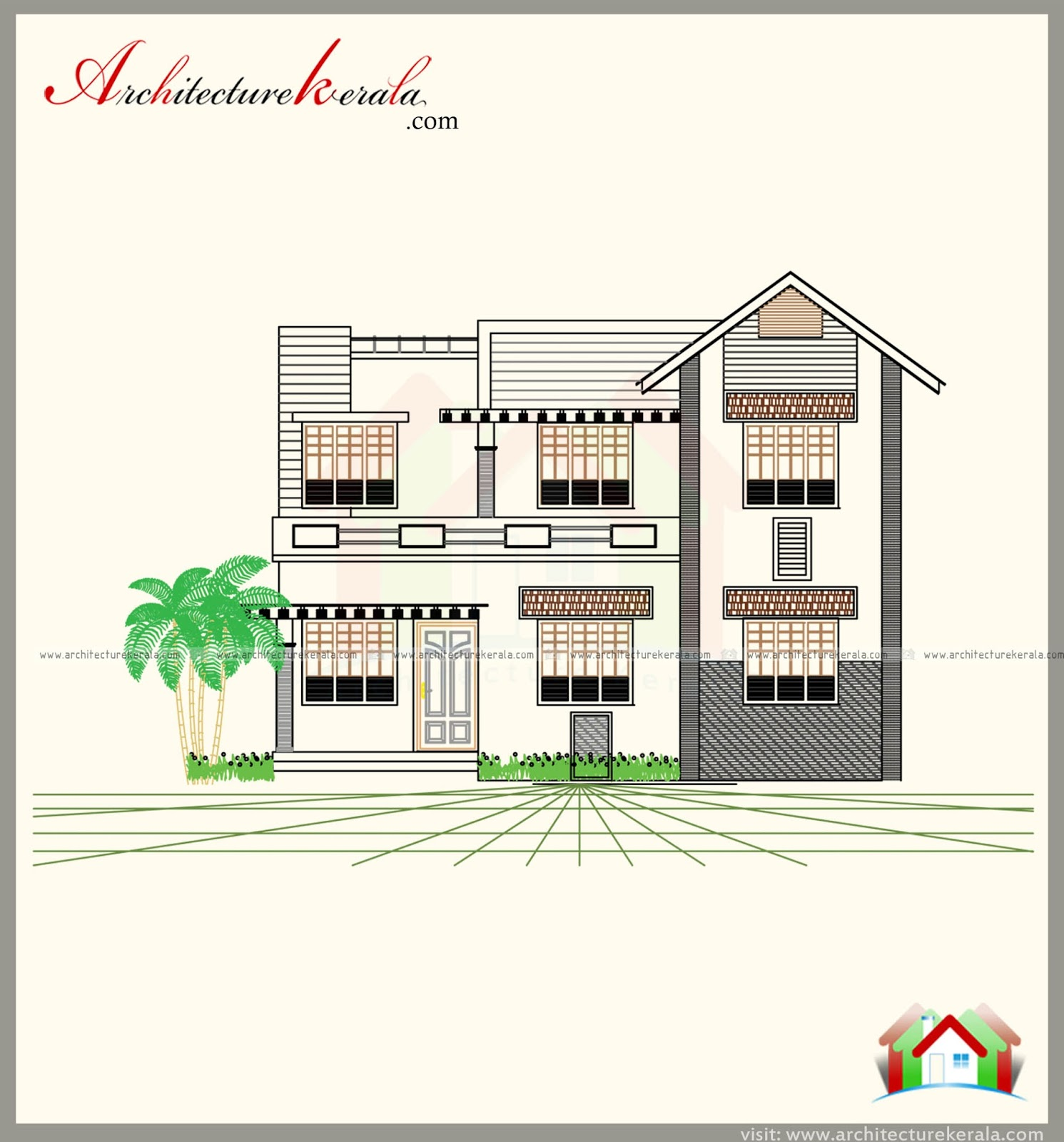 Modern style house plan with three different elevations for Different elevations of house