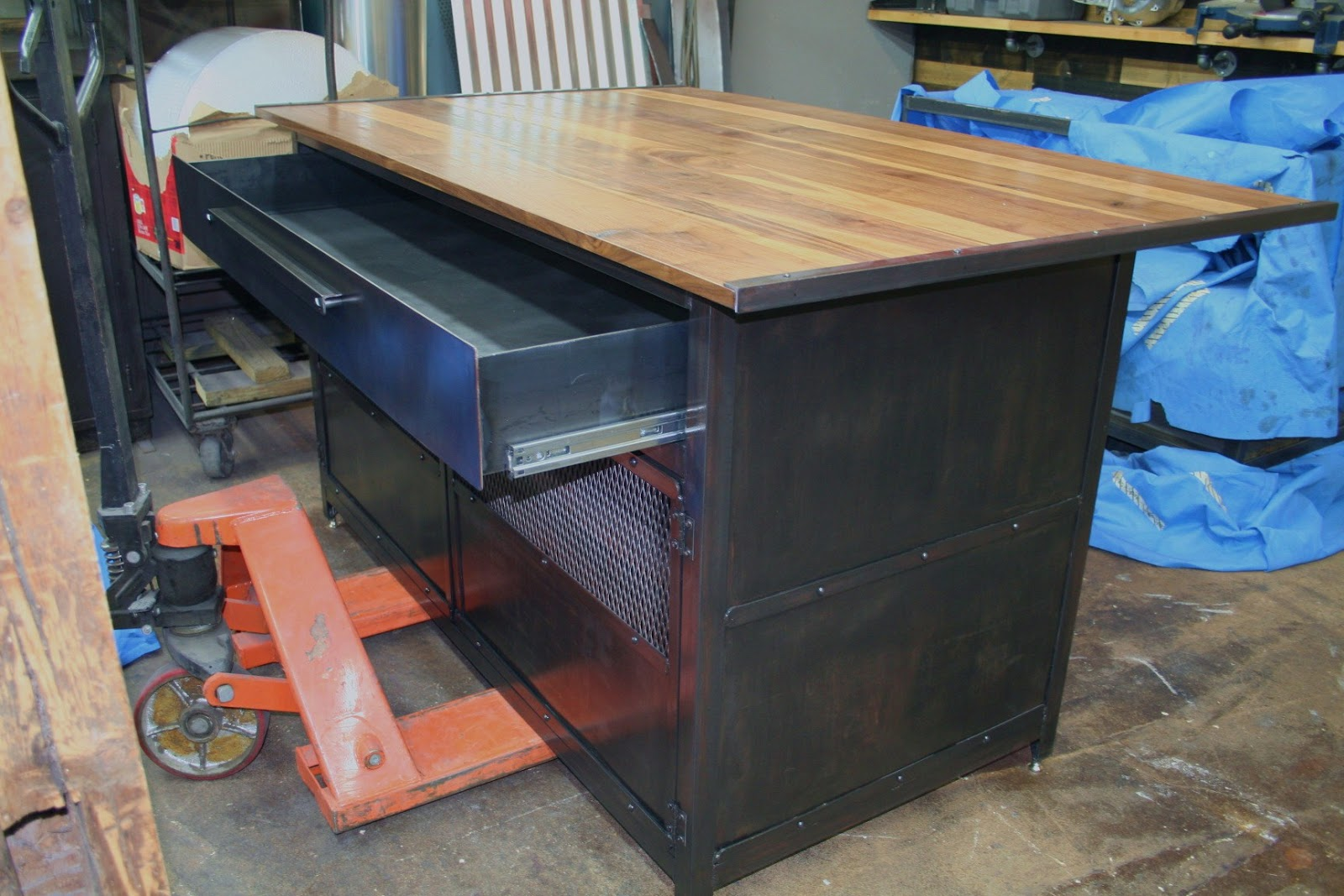 industrial kitchen island outside countertops real edge furniture llc