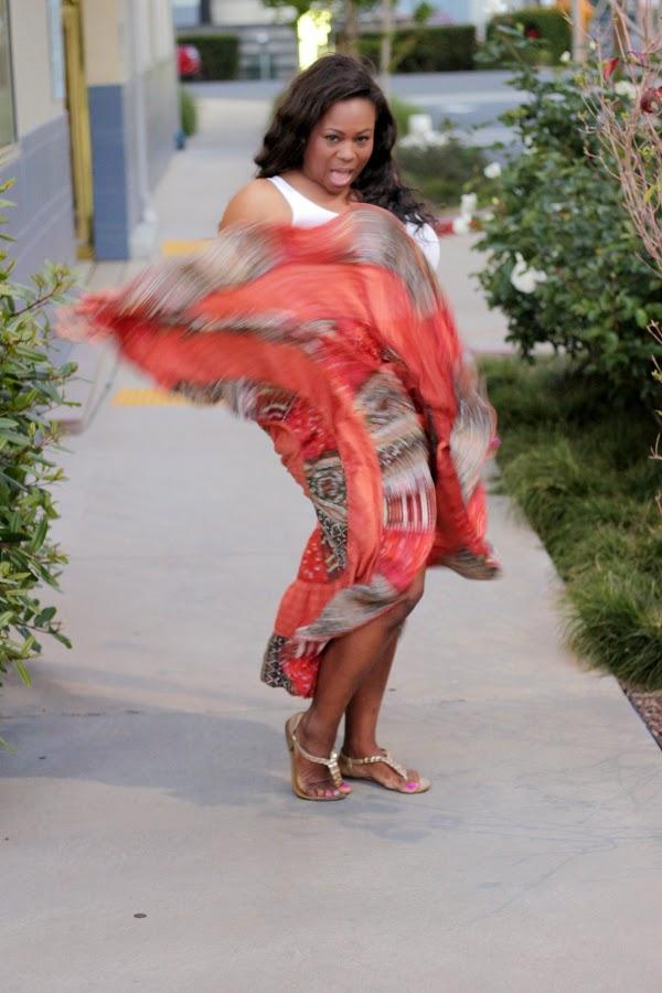 40e0f7c024 Orange Tribal Print Maxi Print Skirt White Tank Top Black Plus Size Fashion  Blogger Melissa Geddis