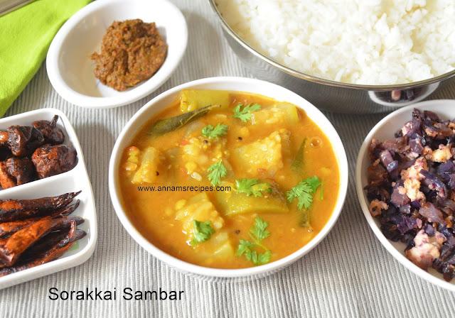 Sorakkai Sambar / Bottle Gourd Sambar