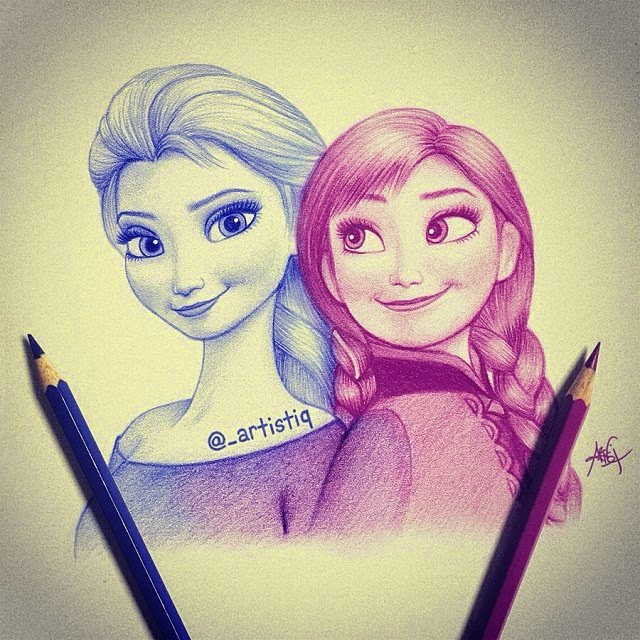 24-Elsa-and-Anna-Frozen-Cas-_artistiq-Colored-Celebrity-and-Cartoon-Drawings-www-designstack-co