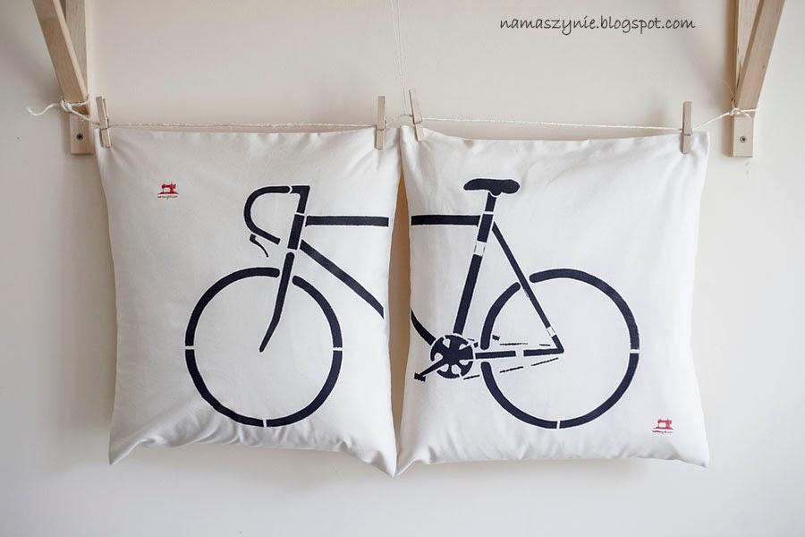 Poduchy, poszewki, malowane ręcznie, od szablonu, rower, bycicle, dla cyklistów, dla fanów motoryzacji, hipsta, hipsterskie