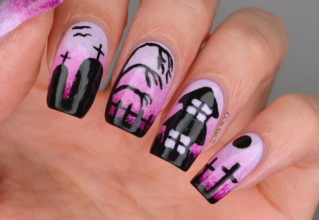 Halloween Haunted House Purple Gradient Nail Art