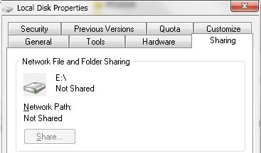 1. Buka Local Disk Properti dengan cara buka File Explorer > Klik kanan pada drive yang ingin anda share > Property > Buka tab Sharing.