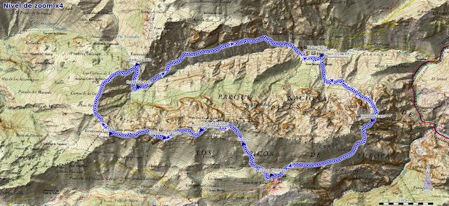 Mapa de la Pasada del Picayo y Cueto Cerralosa y Jajao