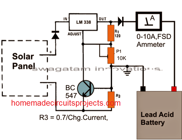 simple solar battery charger using IC LM338