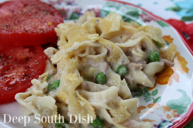 Classic and basic tuna noodle casserole, made with a homemade cream sauce, tuna and peas and topped with kettle chips.