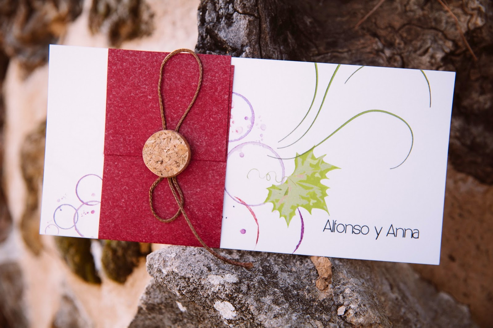 invitaciones boda originales viñedo vineyard vino corcho invitation wedding cork vineyard