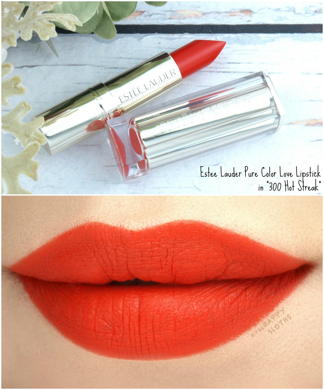 "Estee Lauder Pure Color Love Lipstick in ""300 Hot Streak"": Review and Swatches"