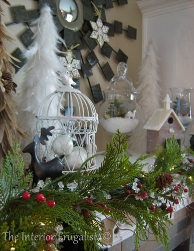 Fireplace mantle winterscape for the holidays