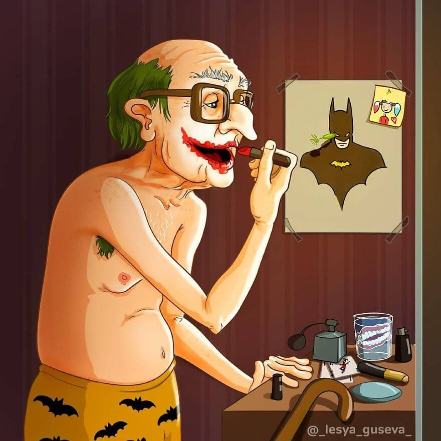 15 Beautiful Illustrations Of Popular Cartoons And Comic Characters In Old Age - Joker