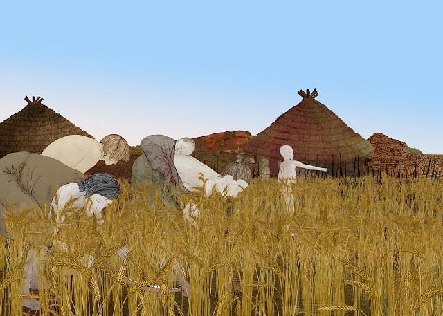 mujeres en la siega, trigo, calcolitico