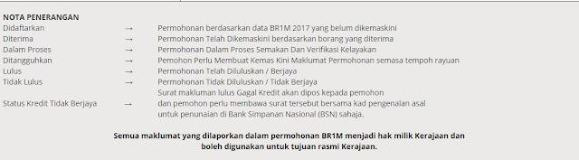 Status permohonan BR1M 2018