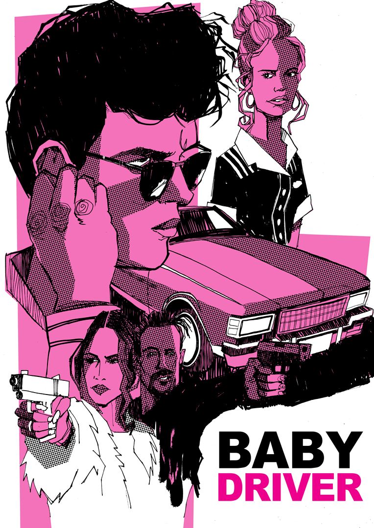 illustrated artwork Baby Driver