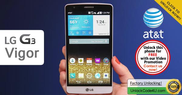 Factory Unlock Code LG G3 Vigor from At&t