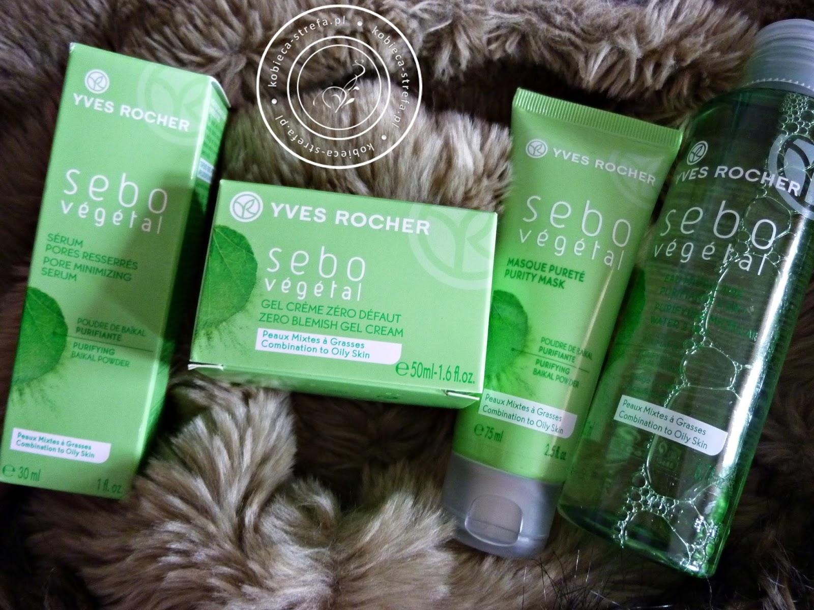 Seria Sebo Vegetal Yves Rocher - produky dla cery tłustej, zwężające pory, zmniejszające wydzielanie sebum