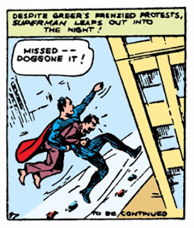 Action Comics (1938) #1 Page 13 Panel 6: Superman terrorizes corrupt Washington, DC lobbyist by jumping him off the top of the capitol building.