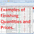 Examples of Finishing Quantities and Prices.