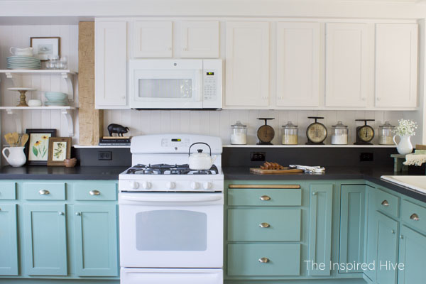 SW Incredible White and Privilege Green. Farmhouse style kitchen.