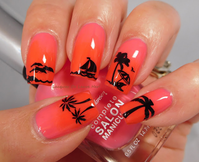 Sally Hansen Get Juiced and Kook a Mango stamped with UberChic Beauty Vacation Mode