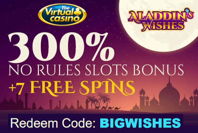 300% No Rules Bonus and 7 Free Spins $1.20 per spin from The Virtual Casino