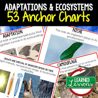life science posters, life science anchor charts, adaptations and ecosystems posters, adaptations and ecosystems anchor charts,