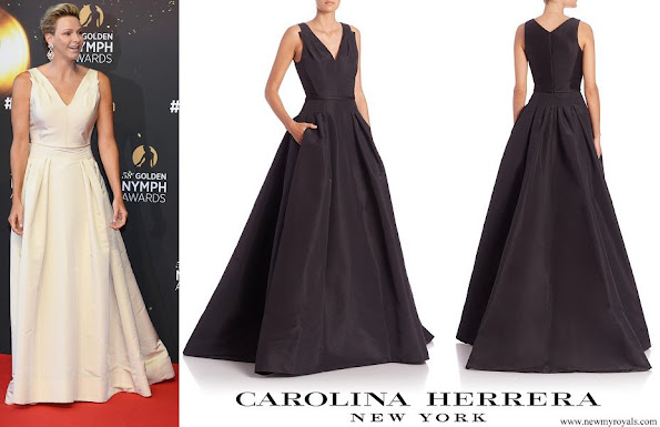 Princess Charlene wore Carolina Herrera Icon Collection Flared Silk Gown