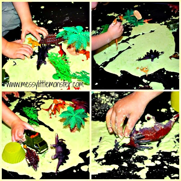 Dinosaur small world sensory play ideas for kids. Make using a gloop (goop, oobleck) recipe.