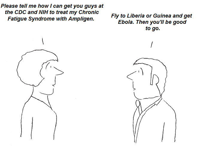 cartoon, ampligen, ebola, treatment, cdc,nih, fauci