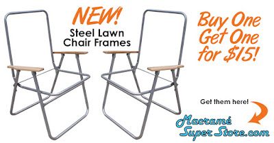 Macrame Steel Lawn Chair Frames with Wood Arms BOGO