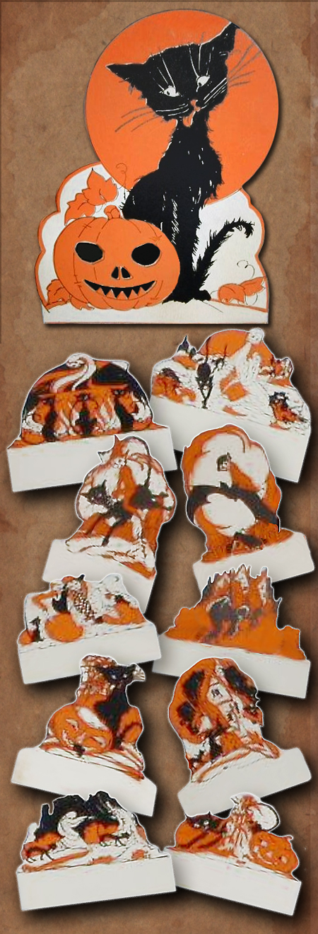 Elves, bats, black cats, witches, ghosts, and more on these vintage Halloween set of place cards by Rust Craft circa 1920s