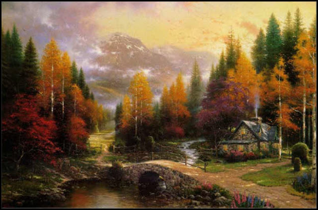 Valley of Peace,Thomas Kinkade,autumn,fall,mountain,house,flowers,clouds