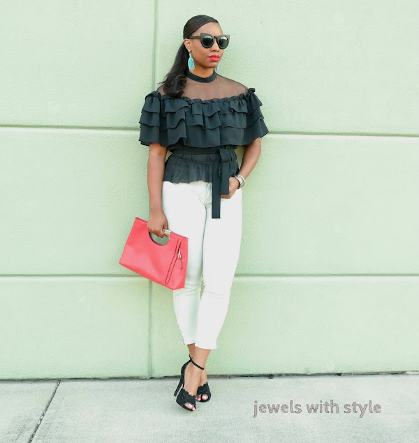 ruffle shirt, black off the shoulder shirt, black ruffle off the shoulder shirt, how to wear statement pieces, statement pieces for clothing, how to upgrade your wardrobe, jewels with style, columbus ohio stylist, columbus ohio fashion stylist, black fashion blogger, black style blogger, columbus ohio blogger, how to wear cropped jeans, how to wear a red clutch purse, jewels with style, off the shoulder shirt outfit ideas