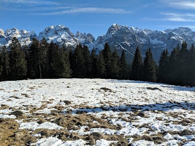View east of the Brenta Dolomites from Malga Ritorto.