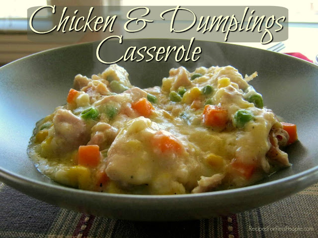 This chicken and dumplings casserole recipe is very different from the traditional version of chicken and dumplings. This recipe makes enough for two batches; you'll be glad it does!