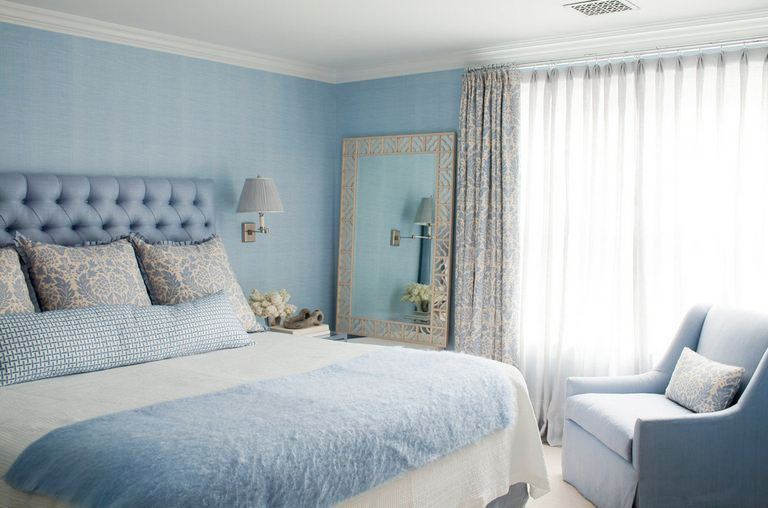 Cornflower Blue Bedroom By Amanda Nisbet S With Tufted Headboard Arm Chair Large Mirror And